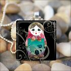 BABUSHKA DOLL MATRYOSHKA RUSSIAN STACKING DOLLS GLASS PENDANT NECKLACE design 6