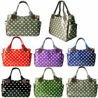 Ladies Oilcloth Polka Dot Shoulder School Shopper Day Tote Bag Handbag