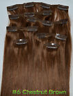 #6--Chestnut Brown 24*-30* 7PCS Clip In Real Human Hair Extensions 100g-120g