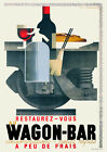 Vintage Art Deco French Travel Poster 1930s Railway Wagon-Bar Food Wine Soda
