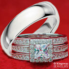 His and Hers 4pc Halo 925 Sterling Silver Stainless Steel Wedding Rings Set