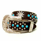 Angel Ranch Brown and Turquoise Croc Print Western Belt A454