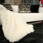 Handmade Decorative Ivory Soft Cozy Plush Throw Blanket Bed Runner Bed Scarf