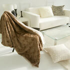 "Handmade Decorative Brown Lofty Plush Throw Blanket 39""X 59"""