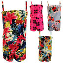 Girls Playsuit Floral Modern Tartan Print Kids Summer Jumpsuits New 7-13 Years