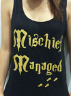 Mischief Managed Womens Harry Potter Gym Fitness Tank Top Sleeveless Black