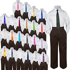 Boys Kids Teen Wedding Formal 3pc Set Shirt Brown Pants Tie Suits Uniform sz S-7