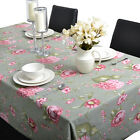 Rectangle 100% Cotton Table Cloth Tablecloth Cover 6 8 Seater Pink White Flower