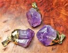 Amethyst Necklace - Natural Gold Plated Gemstone (LR31) - Crystal Point Pendant