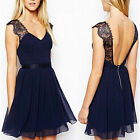 Sexy Women V-Neck Backless Lace Mini Short Dress Casual Party Cocktail Sun Dress