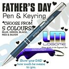 Engraved Fathers Day Metal Pen & Keyring Gift Set Present Dad Fundraiser School