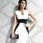 Sexy Red Women White Sleeveless Slim Bodycon Party Cocktail Evening Pencil Dress