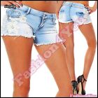 Womens Denim Embroidery Pants Womens Summer Casual Shorts Size 6,8,10,12,14 UK