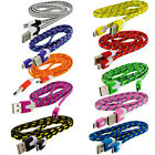 3ft 6ft 10ft Braided Flat Micro USB Charger Cable Charge Cord Rope for Android