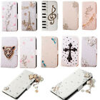 FLYG DIY Leather Wallet Card Holder Crystal Stand Case Cover for Various Phones