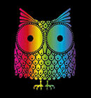 Trippy Colorful Owl Funny Bird T-shirt Tee