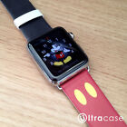 Red Black Print Genuine Leather Band for Apple Watch Series 2 38 42 mm - Mickey