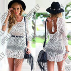 Womens Floral Crochet Tassel Summer Beach White Party Lace Boho Cover Up Dress