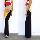 New Sexy Racer back Knit Multi Color block Stripes Fitted LONG Maxi Tank Dress