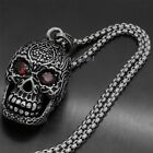 Men's Gothic Flower Skull Red CZ Eyes Biker 316L Stainless Steel Pendant