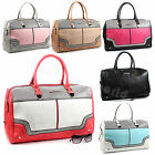 Ladies Snakeskin Leather Style Two Tone Holdall Weekend Hand Luggage Travel Bag