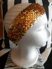HARAH DESIGNS GOLD SEQUIN DRESS HEADBAND FASCINATOR GREAT GATSBY HEAD DRESS