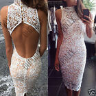 Womens White Crochet Lace Bodycon Party Evening Cocktail Summer Split Back Dress