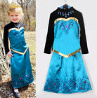 Princess Girl Kid Queen Elsa Coronation Frozen Cosplay Costume Party Fancy Dress