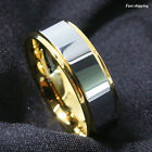 8mm Tungsten Mens Ring 18K Gold High polished Wedding Band Mens Jewelry