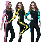 Women's Floral Hooded Wetsuits Full Length Steamer Wet Suit Surfing Diving S XS