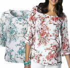 Size UK 10 - 16 Ladies White Summer Floral Top