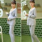 New women Maternity Pajamas suits sleepwear sets v-neck nursing Modal tops+pants