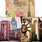 "London, New York, Paris, Cushion Cover Covers Tapestry 18"" x 18"""