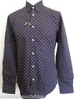 BEN SHERMAN Men's Long Sleeve Geo Print Shirt Cotton Navy Size: Small