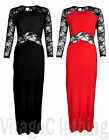 Women's Floral Lace Halterneck Style Evening Party Maxi Dress Long Sleev New