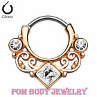 16G (1.2 mm) Steel IP Lace Swirl w/ Square CZ Gem Center Septum Clicker Ring