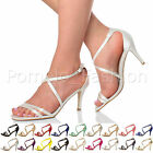 WOMENS LADIES STRAPPY CROSSOVER MID HIGH HEEL WEDDING BRIDESMAID SANDALS SIZE