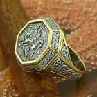 "STERLING SILVER .925 GOLD PLATED RUSSIAN ORTHODOX RING ""ST.GEORGE THE CONQUEROR"""