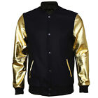 VIPARO Gold Leather Arm Sleeves and Black Wool Varsity Jacket  - Archie