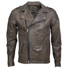 VIPARO Mens Distressed Classic Brando Cow Hide Leather Quilted Biker Jacket - Se