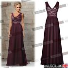 Women Long Chiffon Ball Gown V Neck Lace Party Prom Formal Evening Wedding Dress