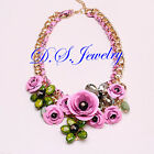 Beautiful Colorful 3D Carved Flowers Cluster Necklace