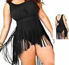 PLUS SIZE Sexy Women Retro Padded Design One-Piece Bikini Fringe Swimwear
