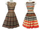 New Retro 1940's WW2 Wartime Classic Brown Peach Striped Border Print Tea Dress