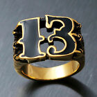 Men's Vintage Gold Black Friday Number 13 Stainless Steel Ring 1%er Outlaw Biker