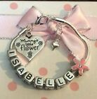 Personalised girls daughter pink mummys little flower charm bracelet all sizes