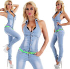 Sexy Women's Denim Light  Blue Jeans Playsuit Jumpsuit  Overall Skinny  C 832