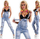 Sexy New Womens Ripped Wash Light Blue Denim Jeans Jumpsuit Overall D 456