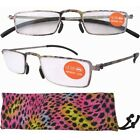Fashion Lightweight Stainless Steel Frame Reading Glasses For Men W/Pouch 12004
