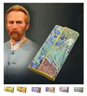 Women Leather Trifold Wallet Van Gogh Oil Painting Purse 3D Texture Mobile Case